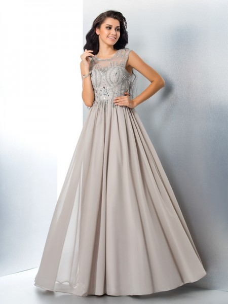 A-Line/Princess Silver Chiffon Floor-Length Dresses with Beading