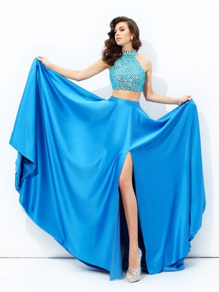 A-Line/Princess Royal Blue Satin Court Train Dresses with Beading