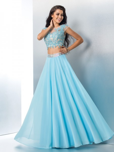A-Line/Princess Light Sky Blue Chiffon Floor-Length Dresses with Applique