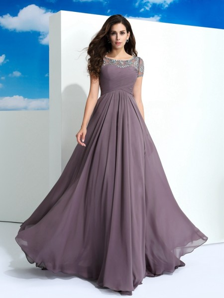 A-Line/Princess Brown Chiffon Floor-Length Dresses with Beading