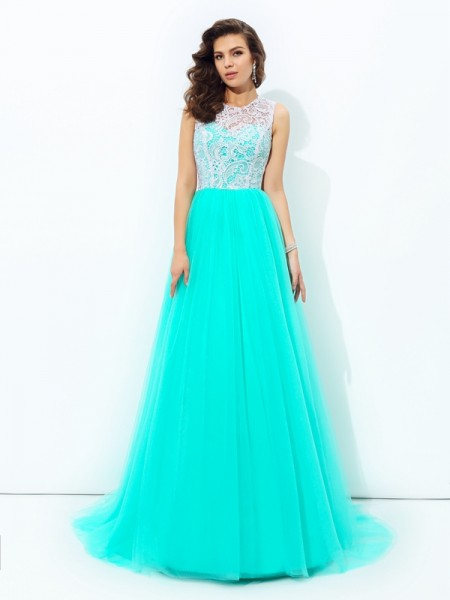 A-Line/Princess Blue Net Sweep/Brush Train Dresses with Lace