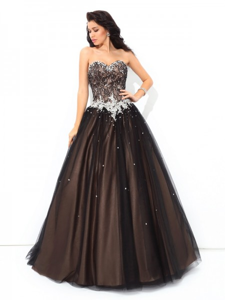 Ball Gown Black Net Floor-Length Dresses with Beading