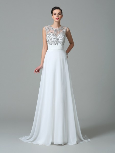A-Line/Princess White Chiffon Sweep/Brush Train Dresses with Beading