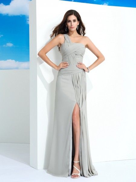 Sheath/Column Grey Chiffon Floor-Length Dresses with Pleats