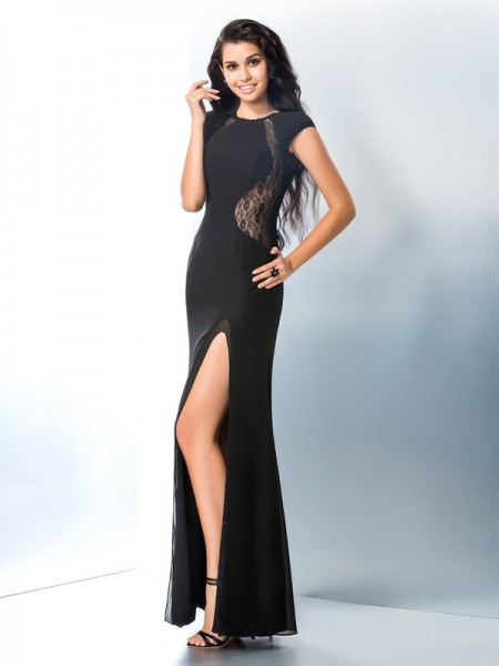 Trumpet/Mermaid Black Chiffon Ankle-Length Dresses with Lace