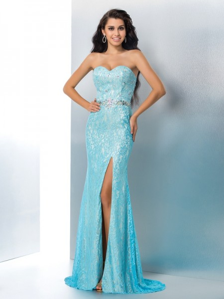 Trumpet/Mermaid Blue Lace Sweep/Brush Train Dresses with Beading