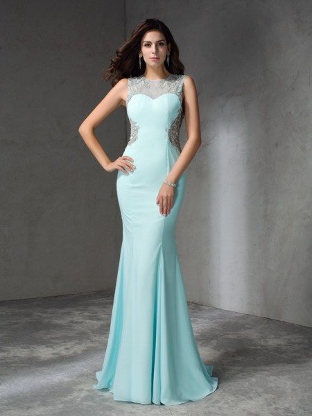 Trumpet/Mermaid Light Sky Blue Chiffon Sweep/Brush Train Dresses with Beading