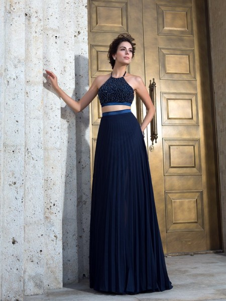 A-Line/Princess Dark Navy Chiffon Sweep/Brush Train Dresses with Pleats
