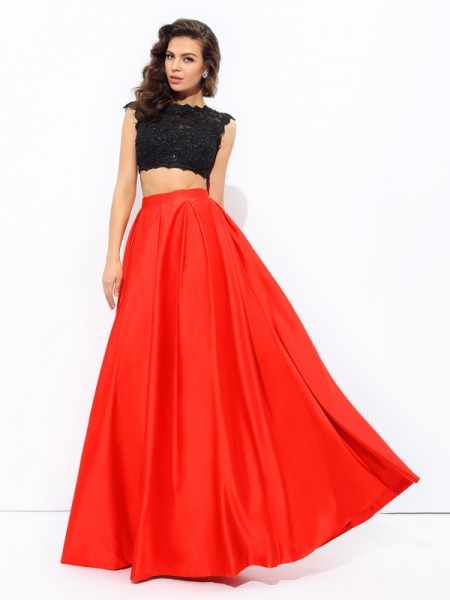 A-Line/Princess Red Satin Floor-Length Dresses with Lace
