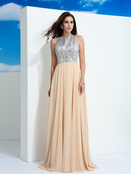 A-Line/Princess Champagne Chiffon Sweep/Brush Train Dresses with Paillette