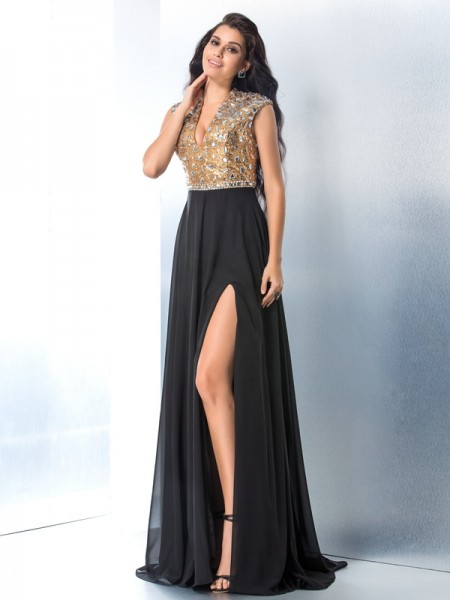 A-Line/Princess Black Chiffon Sweep/Brush Train Dresses with Rhinestone