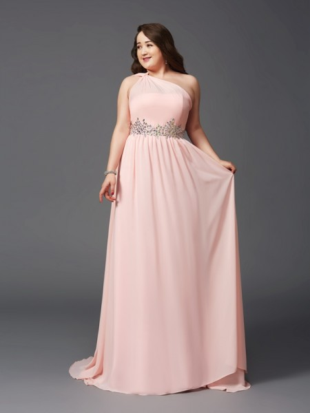 A-Line/Princess Pink Chiffon Sweep/Brush Train Dresses with Rhinestone