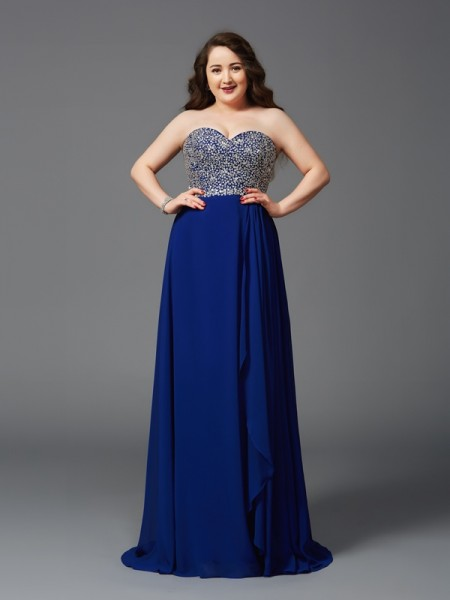 A-Line/Princess Royal Blue Chiffon Sweep/Brush Train Dresses with Rhinestone