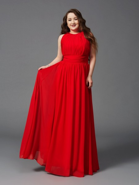 A-Line/Princess Red Chiffon Floor-Length Dresses with Ruched