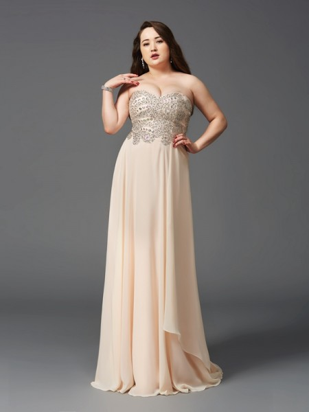 A-Line/Princess Champagne Chiffon Sweep/Brush Train Dresses with Rhinestone