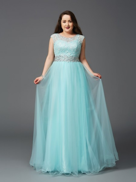 A-Line/Princess Light Sky Blue Elastic Woven Satin Floor-Length Dresses with Rhinestone
