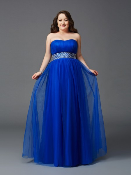 A-Line/Princess Royal Blue Net Floor-Length Dresses with Rhinestone