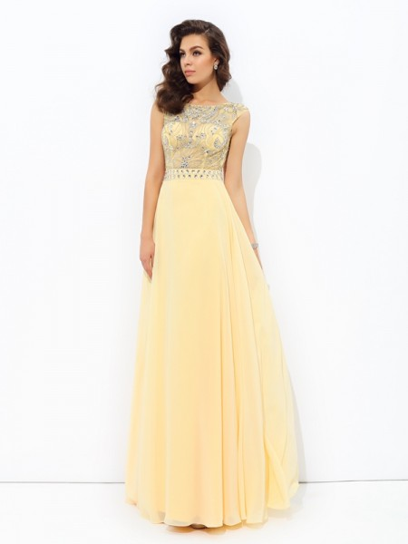 A-Line/Princess Daffodil Chiffon Floor-Length Dresses with Beading