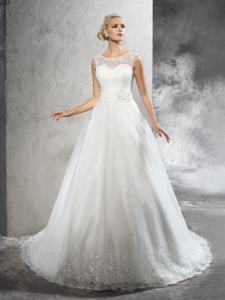 Ball Gown Ivory Net Court Train Wedding Dresses with Sash/Ribbon/Belt