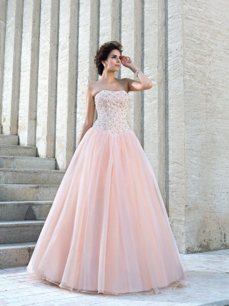 Ball Gown Pink Satin Floor-Length Wedding Dresses with Beading
