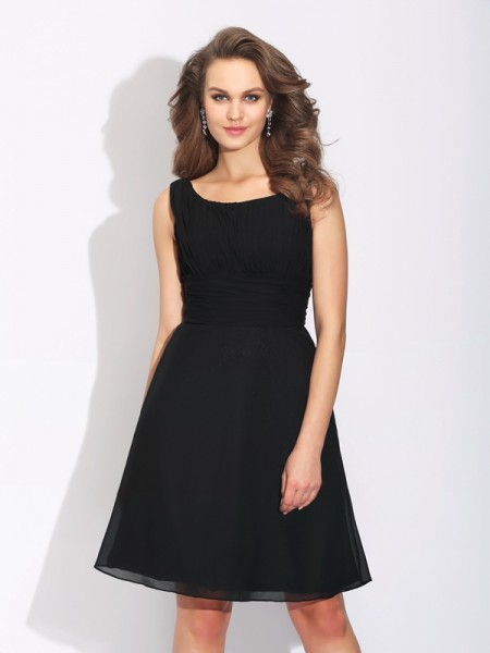 A-Line/Princess Black Chiffon Short/Mini Homecoming Dresses with Bowknot