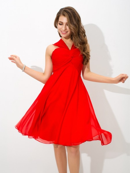 A-Line/Princess Red Chiffon Knee-Length Homecoming Dresses with Pleats