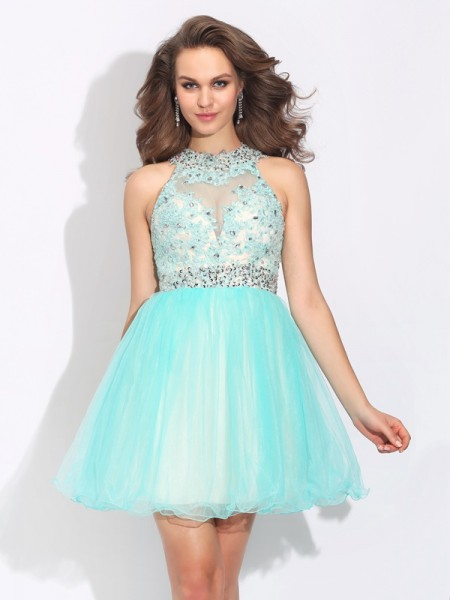 A-Line/Princess Light Sky Blue Net Short/Mini Homecoming Dresses with Lace