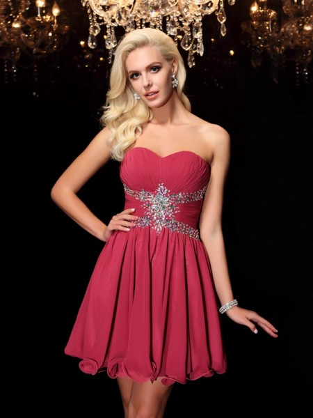 A-Line/Princess Burgundy Chiffon Short/Mini Homecoming Dresses with Rhinestone