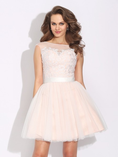 A-Line/Princess Pearl Pink Net Short/Mini Homecoming Dresses with Ruffles