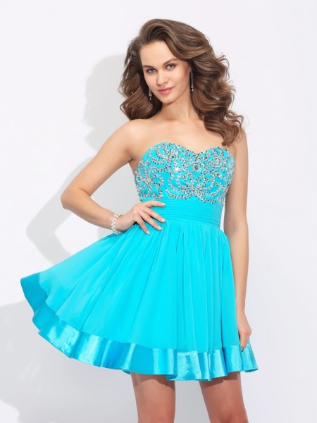 A-Line/Princess Blue Chiffon Short/Mini Homecoming Dresses with Ruffles