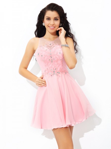 A-Line/Princess Pink Chiffon Short/Mini Homecoming Dresses with Applique