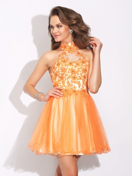 A-Line/Princess Orange Net Short/Mini Homecoming Dresses with Ruffles