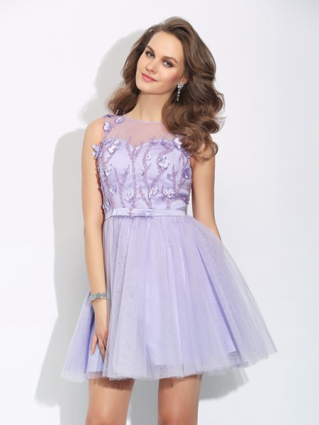 A-Line/Princess Lavender Satin Short/Mini Homecoming Dresses with Applique