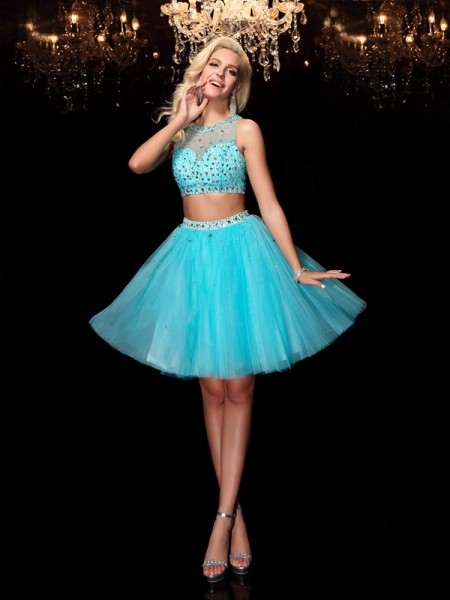 A-Line/Princess Light Sky Blue Net Short/Mini Homecoming Dresses with Rhinestone