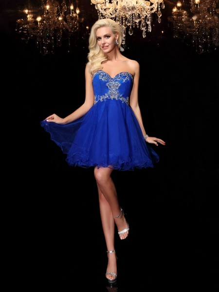 A-Line/Princess Royal Blue Net Short/Mini Homecoming Dresses with Beading
