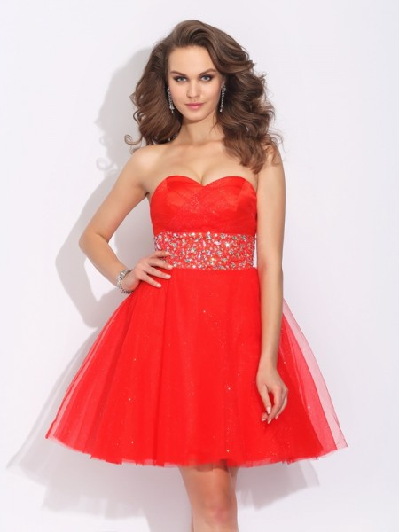 A-Line/Princess Red Net Short/Mini Homecoming Dresses with Rhinestone