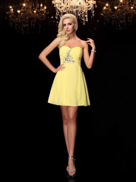 A-Line/Princess Yellow Chiffon Short/Mini Homecoming Dresses with Rhinestone