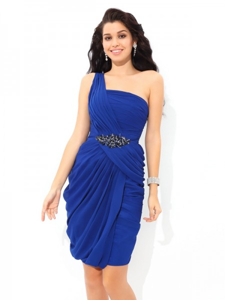 Sheath/Column Royal Blue Chiffon Short/Mini Homecoming Dresses with Pleats