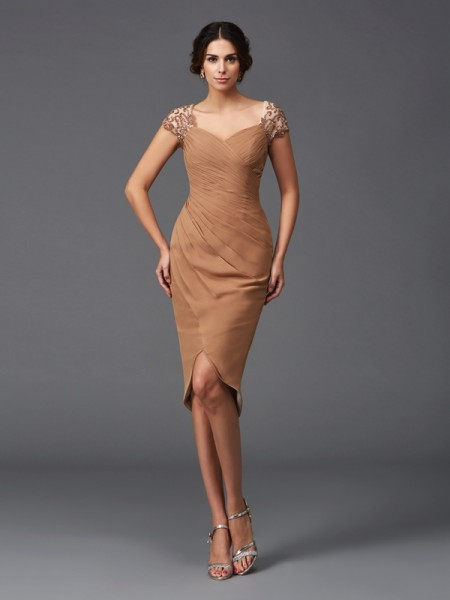 Sheath/Column Brown Chiffon Asymmetrical Homecoming Dresses with Applique