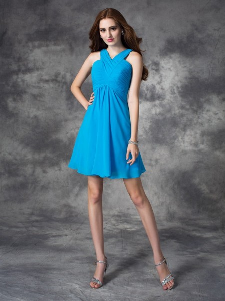A-Line/Princess Blue Silk like Satin Short/Mini Homecoming Dresses with Ruffles
