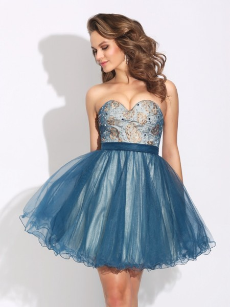 A-Line/Princess Dark Navy Net Short/Mini Homecoming Dresses with Ruffles