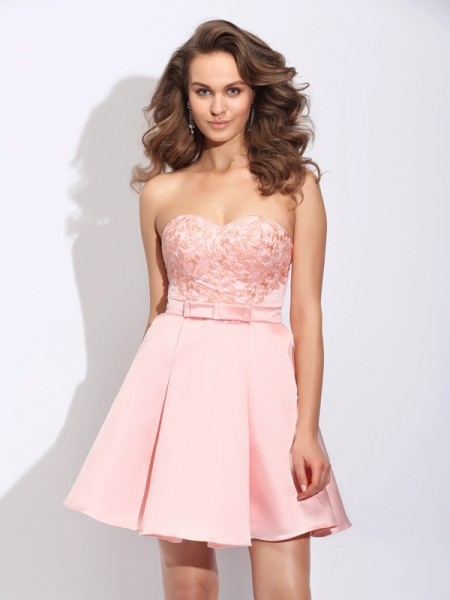 A-Line/Princess Pink Satin Short/Mini Homecoming Dresses with Ruffles