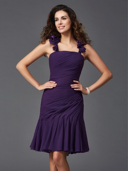 Sheath/Column Grape Chiffon Short/Mini Homecoming Dresses with Ruched