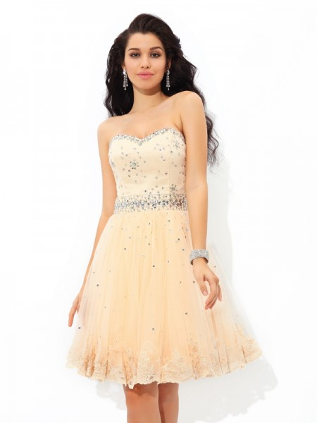 A-Line/Princess Champagne Satin Short/Mini Homecoming Dresses with Beading