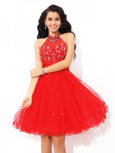 A-Line/Princess Red Net Short/Mini Homecoming Dresses with Beading