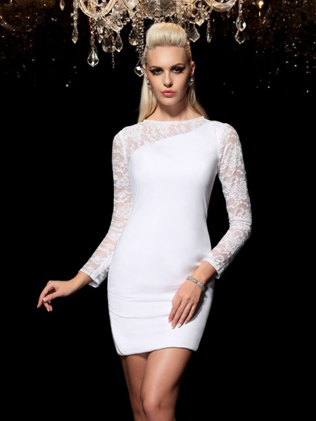 Sheath/Column White Elastic Woven Satin Short/Mini Homecoming Dresses with Lace