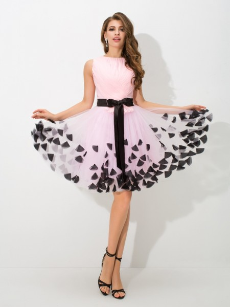 A-Line/Princess Pink Net Short/Mini Homecoming Dresses with Bowknot