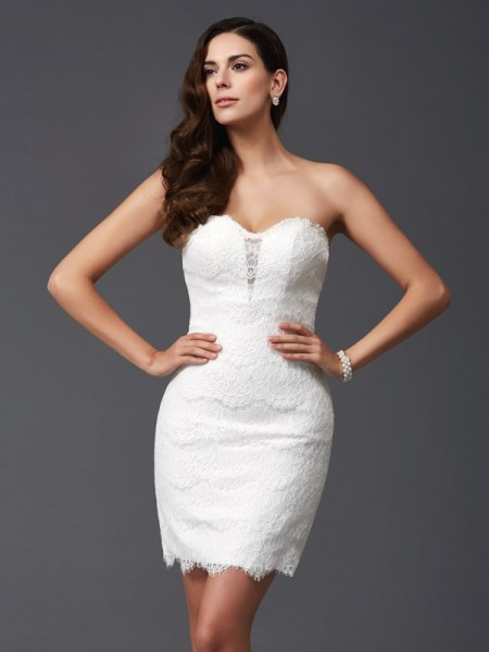 Sheath/Column Ivory Lace Short/Mini Homecoming Dresses with Lace