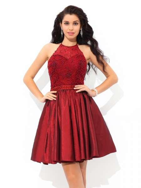 A-Line/Princess Burgundy Taffeta Short/Mini Homecoming Dresses with Beading