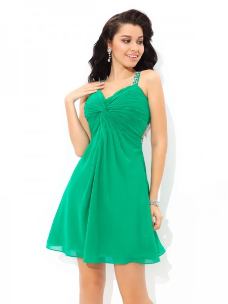 A-Line/Princess Green Chiffon Short/Mini Homecoming Dresses with Pleats